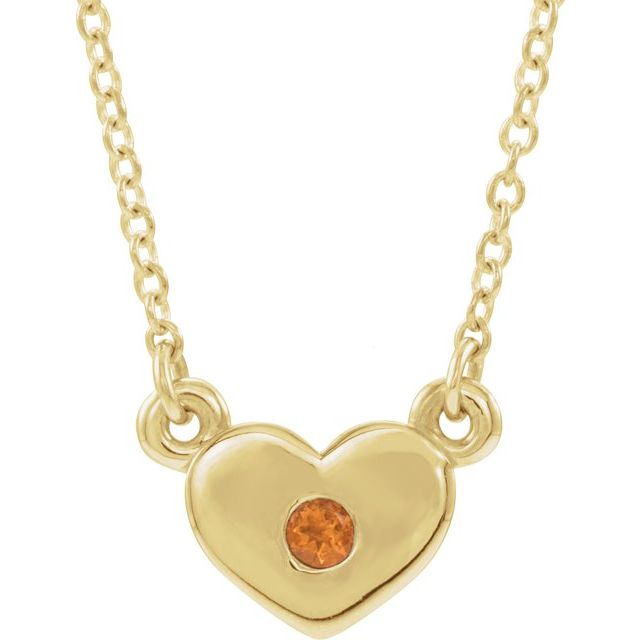 Golden Citrine Necklace in 14 Karat Yellow Gold Citrine Heart 16