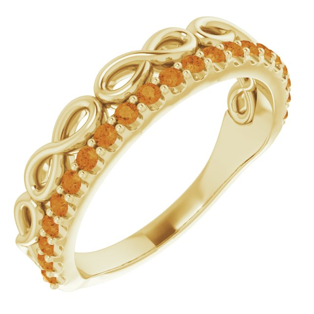 Golden Citrine Ring in 14 Karat Yellow Gold Citrine Infinity-Inspired Stackable Ring