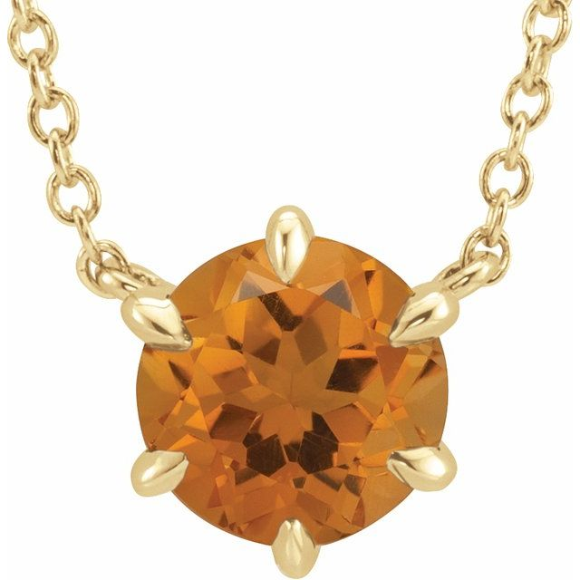 Golden Citrine Necklace in 14 Karat Yellow Gold Citrine Solitaire 16