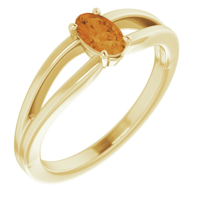 Golden Citrine Ring in 14 Karat Yellow Gold Citrine Solitaire Youth Ring