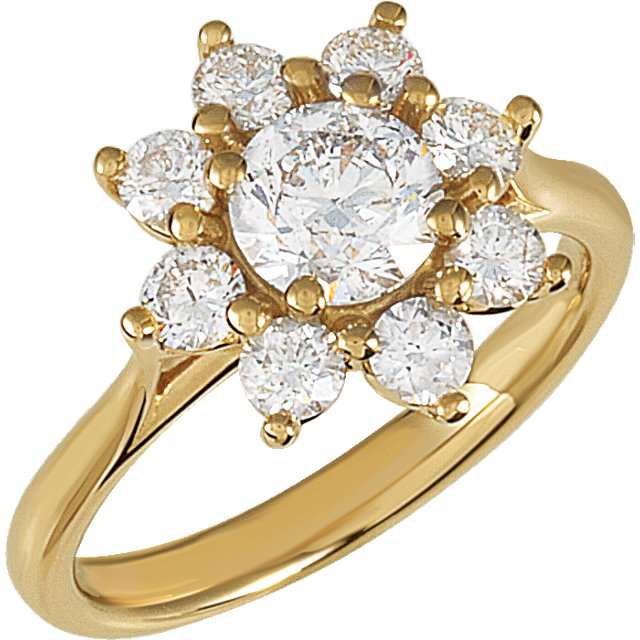 Great Deal in 14 Karat Yellow Gold Diamond Cluster Ring