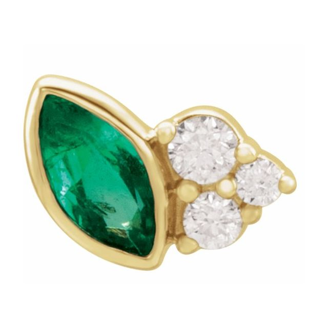 Genuine Emerald Earrings in 14 Karat Yellow Gold Emerald & .03 Carat Diamond Left Earring