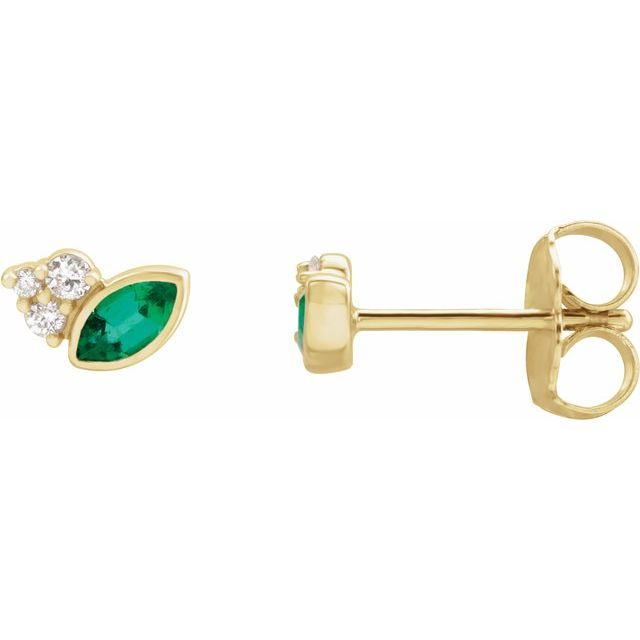 Genuine Emerald Earrings in 14 Karat Yellow Gold Emerald & .05 Carat Diamond Earrings
