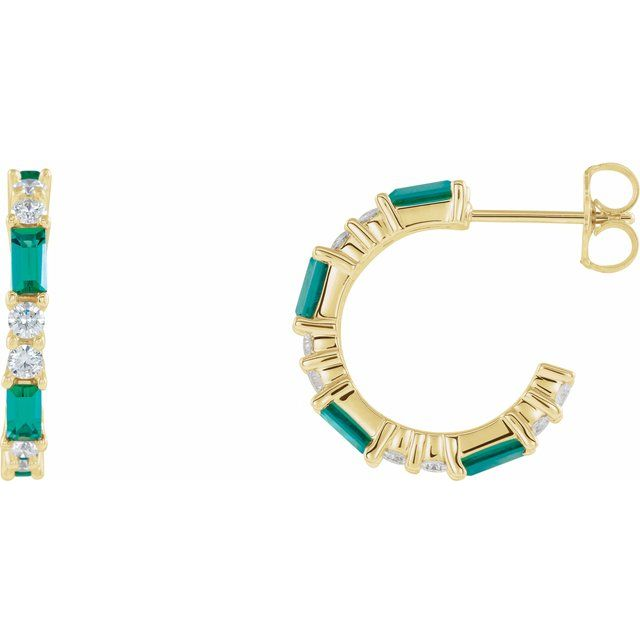 Genuine Emerald Earrings in 14 Karat Yellow Gold Emerald & 1/2 Carat Diamond Earrings