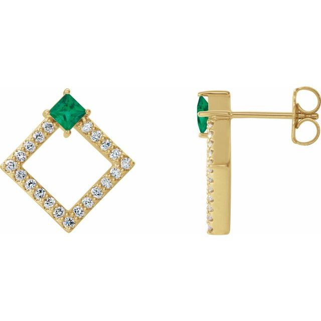 Genuine Emerald Earrings in 14 Karat Yellow Gold Emerald & 1/3 Carat Diamond Earrings