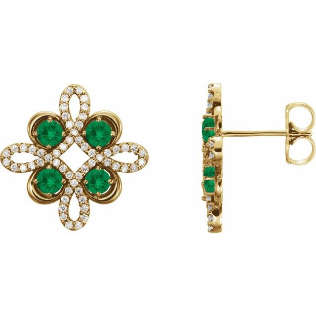 Genuine Emerald Earrings in 14 Karat Yellow Gold Emerald & 1/4 Carat Diamond Earrings