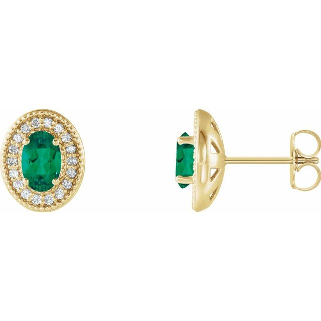Genuine Emerald Earrings in 14 Karat Yellow Gold Emerald & 1/5 Carat Diamond Halo-Style Earrings