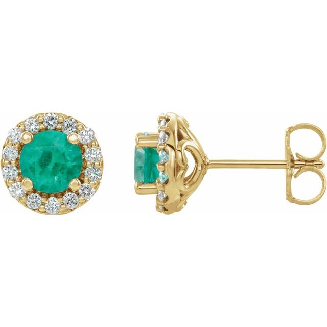 Genuine Emerald Earrings in 14 Karat Yellow Gold Emerald & 1/6 Carat Diamond Earrings