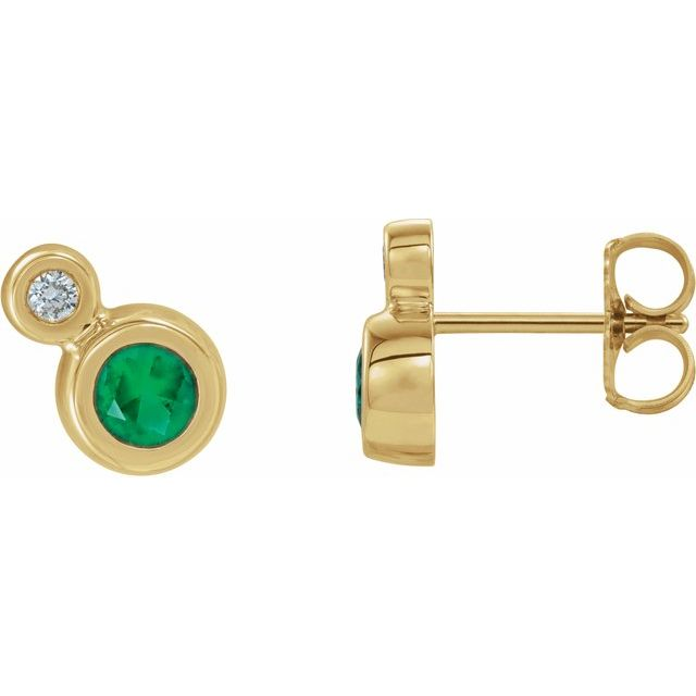 Genuine Emerald Earrings in 14 Karat Yellow Gold Emerald & 1/8 Carat Diamond Earrings