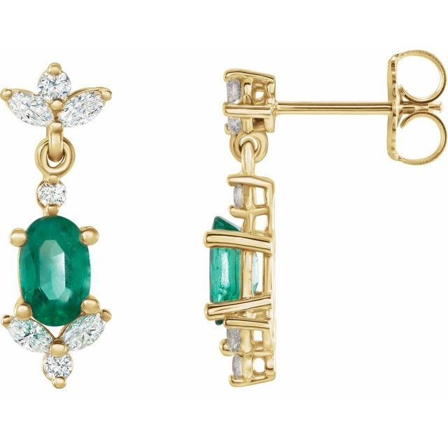 Genuine Emerald Earrings in 14 Karat Yellow Gold Emerald & 3/8 Carat Diamond Earrings