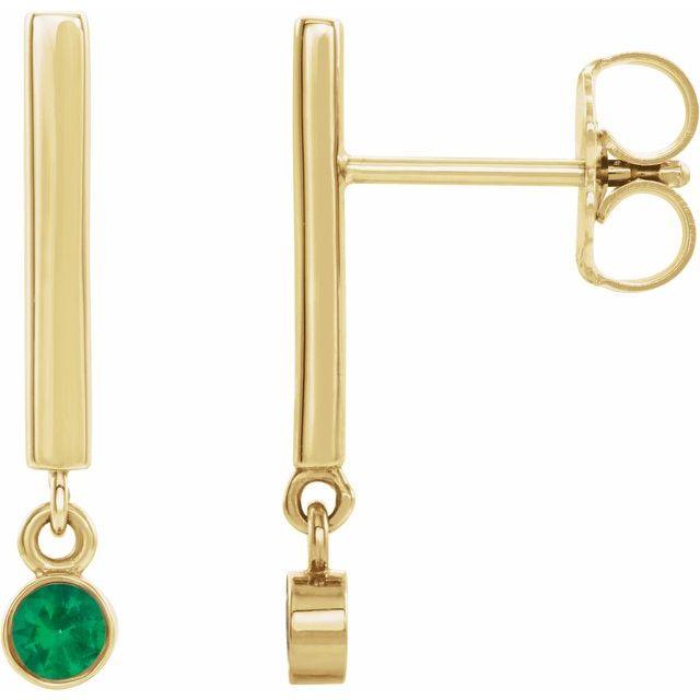Genuine Emerald Earrings in 14 Karat Yellow Gold Emerald Bar Earrings