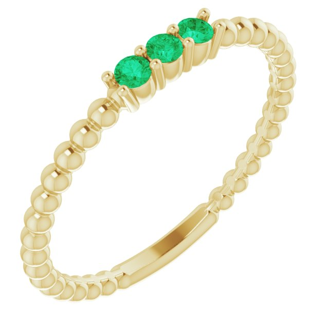 Genuine Emerald Ring in 14 Karat Yellow Gold Emerald Beaded Ring