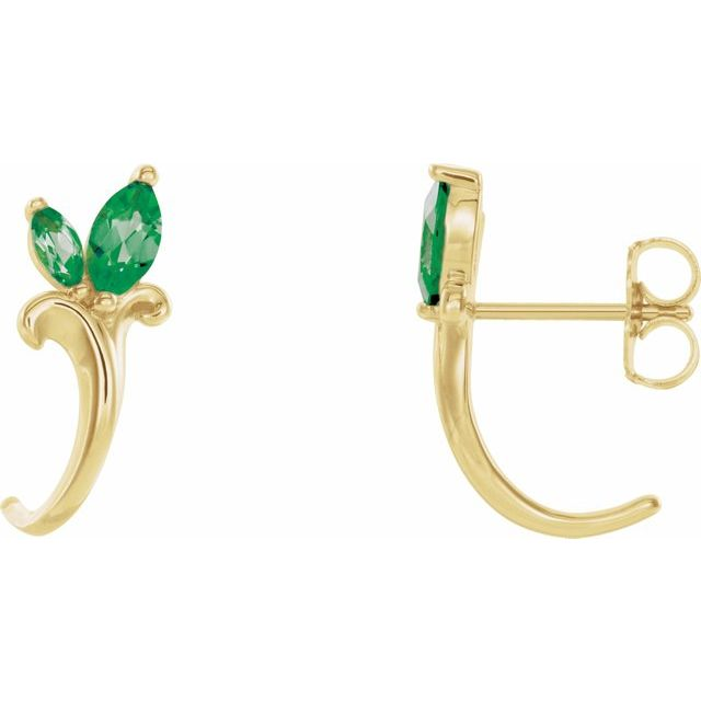 Genuine Emerald Earrings in 14 Karat Yellow Gold Emerald Floral-Inspired J-Hoop Earrings