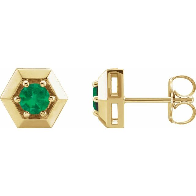 Genuine Emerald Earrings in 14 Karat Yellow Gold Emerald Geometric Earrings