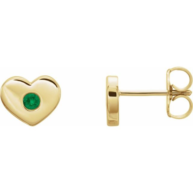 Genuine Emerald Earrings in 14 Karat Yellow Gold Emerald Heart Earrings