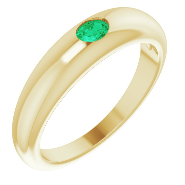 Genuine Emerald Ring in 14 Karat Yellow Gold Emerald Petite Dome Ring