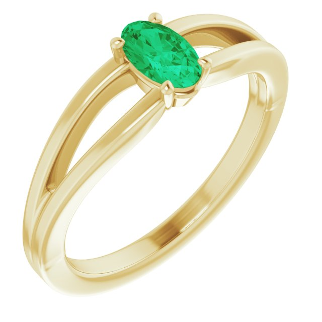 Genuine Emerald Ring in 14 Karat Yellow Gold Emerald Solitaire Youth Ring
