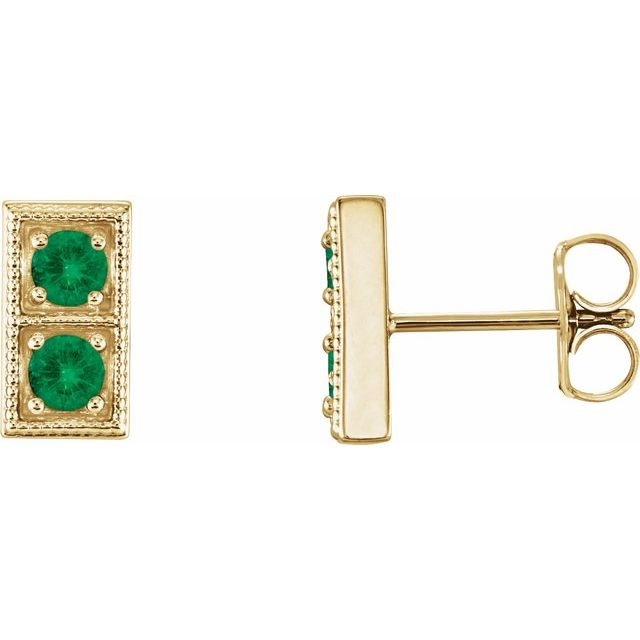 Genuine Emerald Earrings in 14 Karat Yellow Gold EmeraldTwo-Stone Earrings