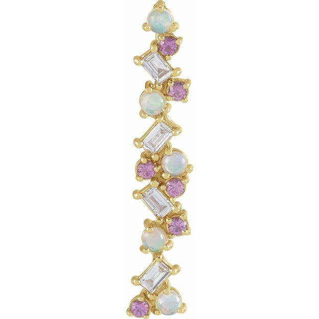 Multi-Gemstone Pendant in 14 Karat Yellow Gold Ethiopian Opal, Pink Sapphire & 1/8 Carat Diamond Scattered Bar Pendant