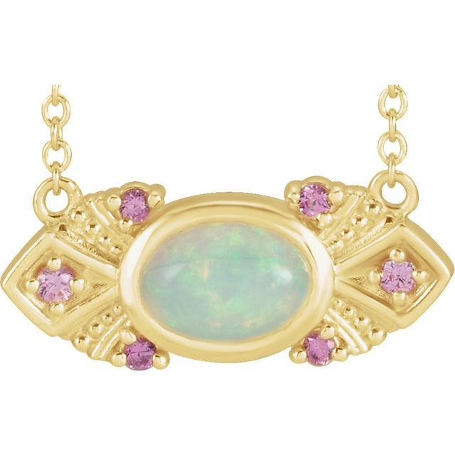 White Opal Necklace in 14 Karat Yellow Gold Ethiopian Opal & Pink Sapphire Vintage-Inspired 16
