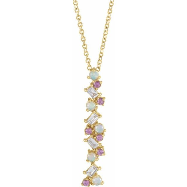 Multi-Gemstone Necklace in 14 Karat Yellow Gold Ethiopian Opals, Pink Sapphires & 1/8 Carat Diamond Scattered Bar 16-18