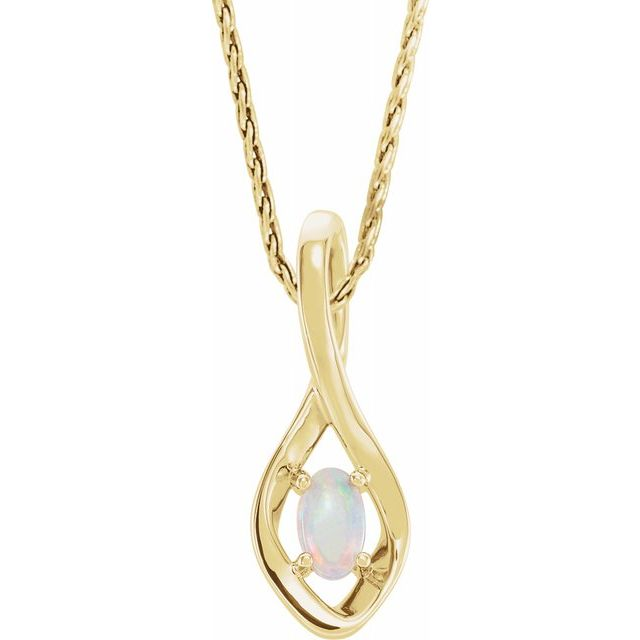 White Opal Necklace in 14 Karat Yellow Gold Freeform Opal 16-18