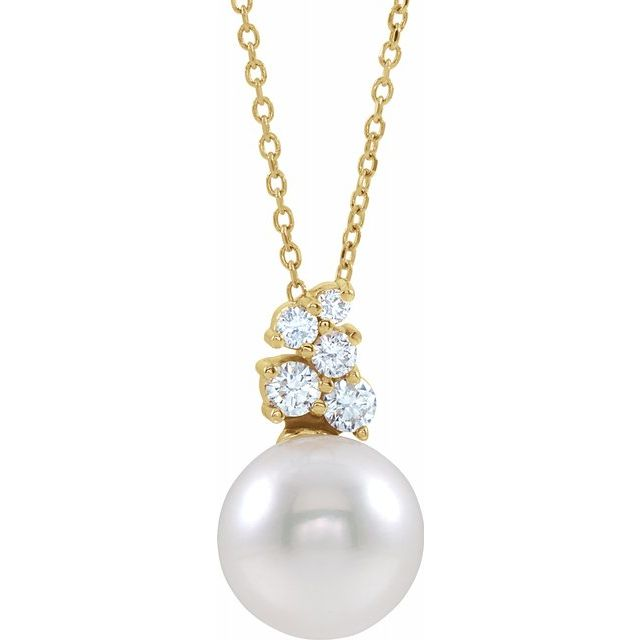 White Pearl Necklace in 14 Karat Yellow Gold Freshwater Cultured Pearl & 1/4 Carat Diamond 16-18