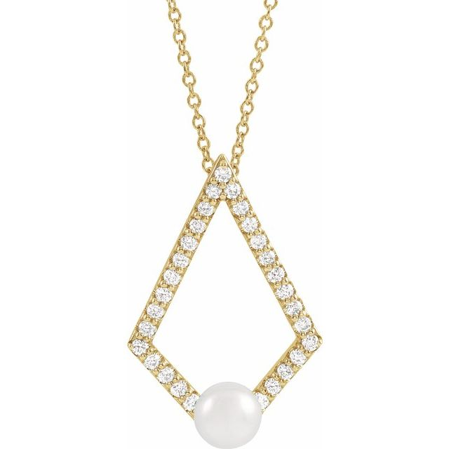 Cultured Freshwater Pearl Necklace in 14 Karat Yellow Gold Freshwater Cultured Pearl & 1/4 Carat Diamond Geometric 16-18