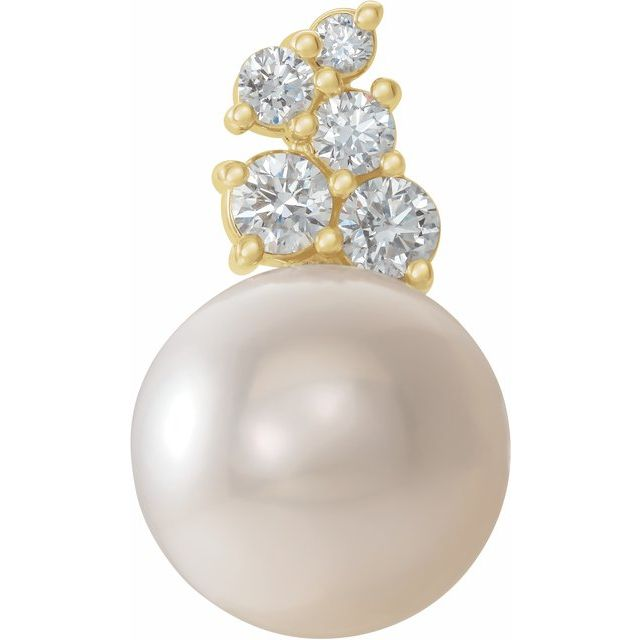 White Cultured Freshwater Pearl Pendant in 14 Karat Yellow Gold Freshwater Cultured Pearl & 1/4 Carat Diamond Pendant