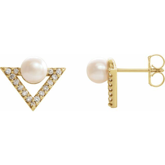 Freshwater Pearl Earrings in 14 Karat Yellow Gold Freshwater Cultured Pearl & 1/5 Carat Diamond Earrings