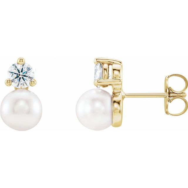 White Pearl Earrings in 14 Karat Yellow Gold Freshwater Cultured Pearl & 1/5 Carat Diamond Earrings