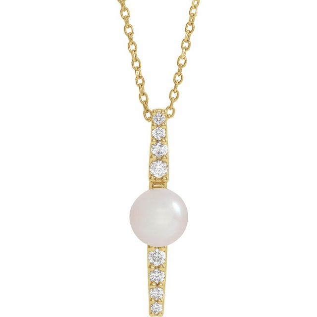 Cultured Freshwater Pearl Necklace in 14 Karat Yellow Gold Freshwater Cultured Pearl & 1/6 Carat Diamond 16-18