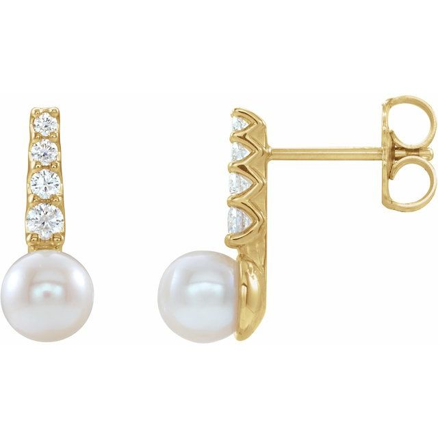 White Pearl Earrings in 14 Karat Yellow Gold Freshwater Cultured Pearl & 1/6 Carat Diamond Earrings