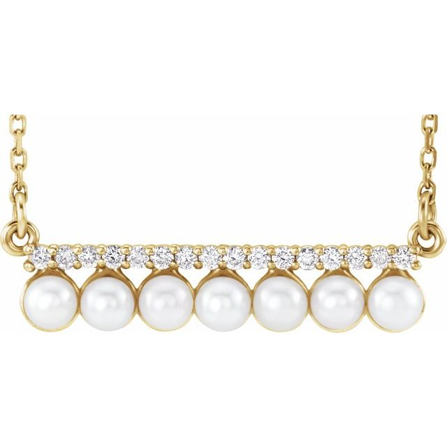 White Pearl Necklace in 14 Karat Yellow Gold Freshwater Cultured Pearl & 1/8 Carat Diamond Bar 16-18