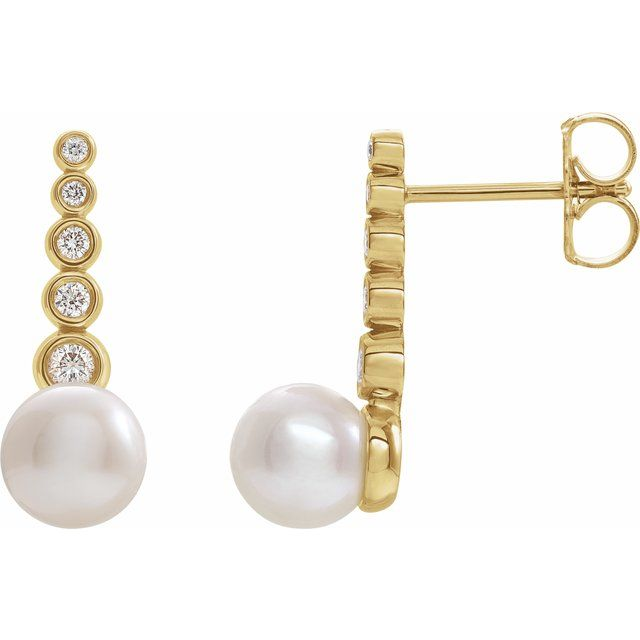 Freshwater Pearl Earrings in 14 Karat Yellow Gold Freshwater Cultured Pearl & 1/8 Carat Diamond Earrings