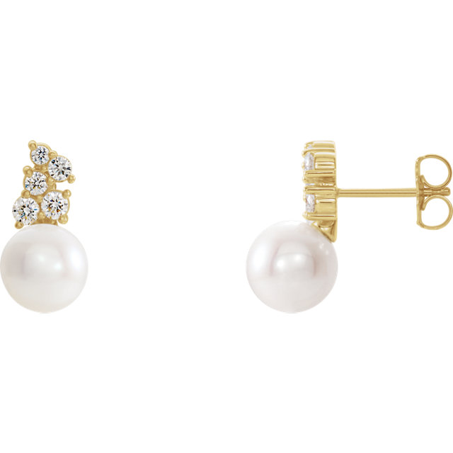 Chic 14 Karat Yellow Gold Freshwater Cultured Pearl & 0.40 Carat Total Weight Diamond Earrings