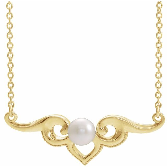 Cultured Freshwater Pearl Necklace in 14 Karat Yellow Gold Freshwater Cultured Pearl Bar 18