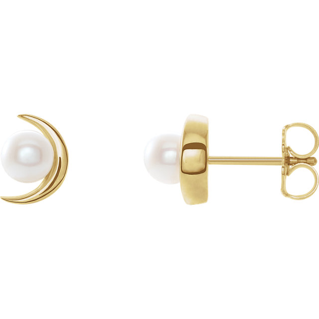 14 Karat Yellow Gold Freshwater Pearl Earrings
