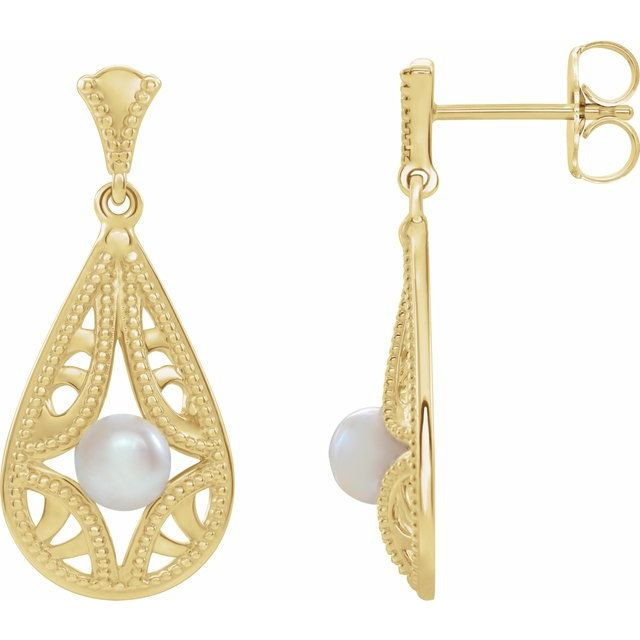 White Pearl Earrings in 14 Karat Yellow Gold Freshwater Cultured Pearl Vintage-Inspired Earrings