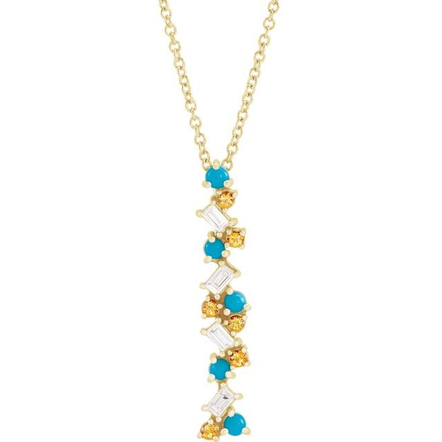 Multi-Gemstone Necklace in 14 Karat Yellow Gold Honey Passion Topaz, Turquoise & 1/8 Carat Diamond Scattered Bar 16-18