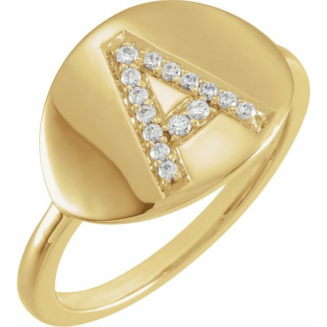 White Diamond Ring in 14 Karat Yellow Gold Initial A 1/10 Carat Diamond Ring