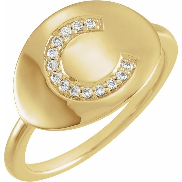 White Diamond Ring in 14 Karat Yellow Gold Initial C .08 Carat Diamond Ring