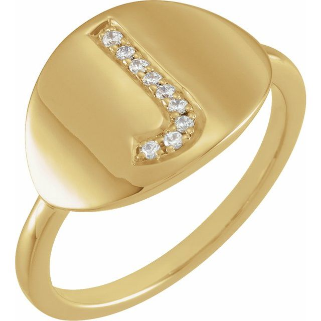 White Diamond Ring in 14 Karat Yellow Gold Initial J .05 Carat Diamond Ring
