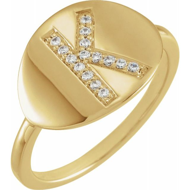 White Diamond Ring in 14 Karat Yellow Gold Initial K 1/10 Carat Diamond Ring
