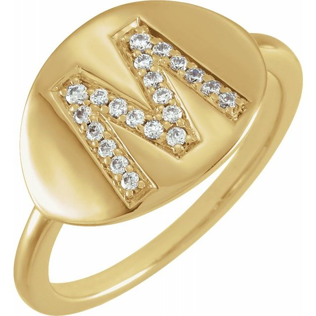 White Diamond Ring in 14 Karat Yellow Gold Initial M 1/8 Carat Diamond Ring