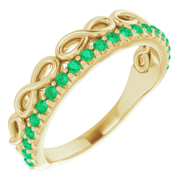 Genuine Chatham Created Emerald Ring in 14 Karat Yellow Gold Lab-Created Emerald Stackable Infinity-Inspired Heart Ring