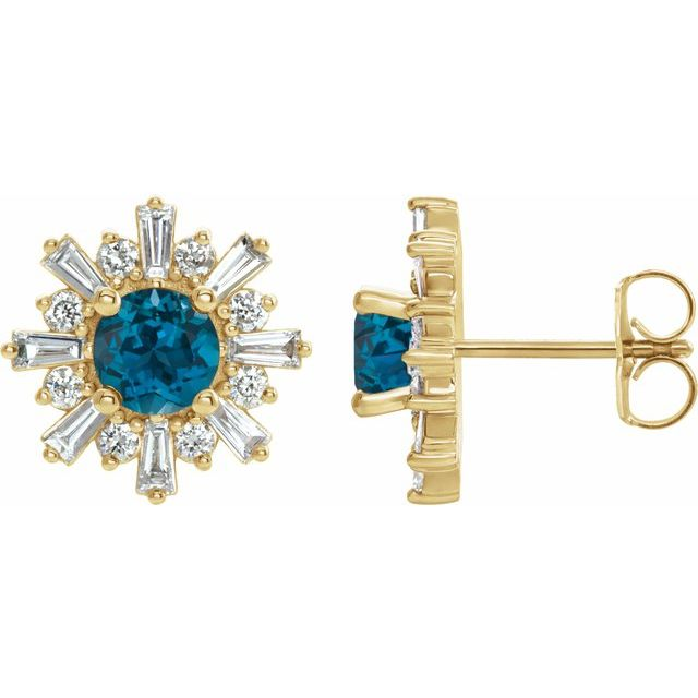 Topaz Earrings in 14 Karat Yellow Gold London Topaz & 3/4 Carat Diamond Earrings