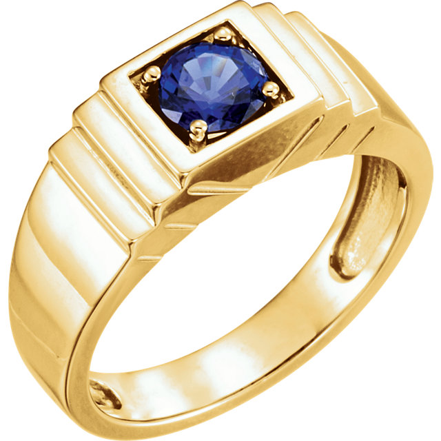 Fine Quality 14 Karat Yellow Gold Men's Genuine Chatham Created Created Blue Sapphire Ring
