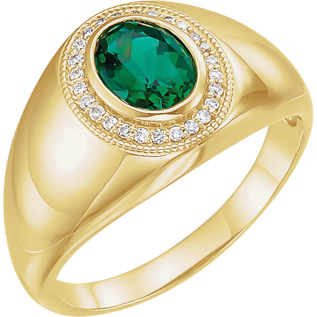 Genuine 14 Karat Yellow Gold Men's Genuine Chatham Emerald & Diamond Accented Ring