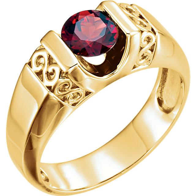 Great Deal in 14 Karat Yellow Gold Men's Mozambique Garnet Ring